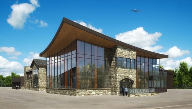A rendering of the new  Million Air terminal and hangar at Westchester County Airport.