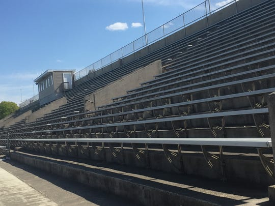 The grandstands behind Collingswood High School were erected in the Depression Era.