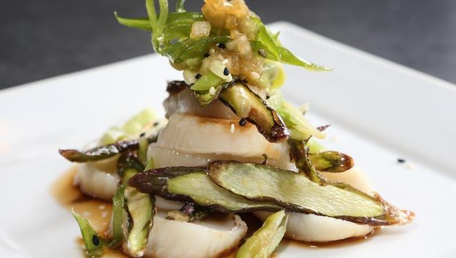 Asparagus and scallop salad at Mirin.