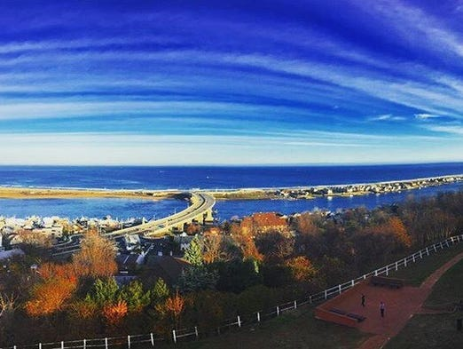 The view from the Twin Lights  lighthouse.