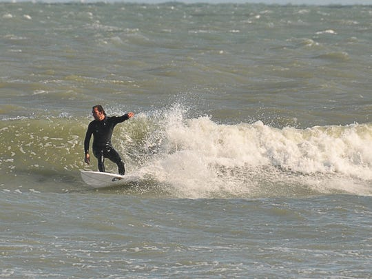 There were waves Sunday but a strong south current making the conditions rough for surfing. The Space Coast experienced the coldest tempetatures of the season Saturday night into Sunday, with high winds making the wind chill a factor.