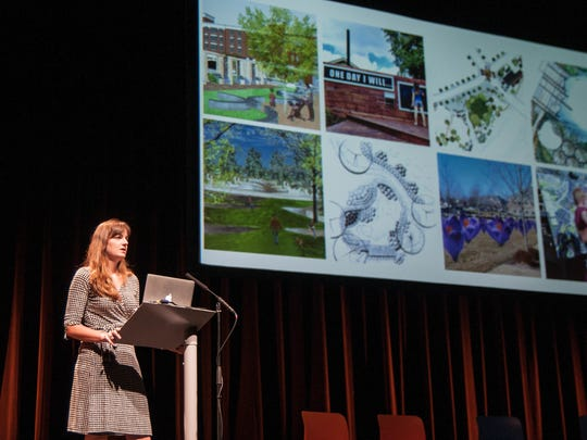 Rachel Johnson, an Indianapolis artist, presents her idea for ArtPrize. Johnson wanted to create a gigantic, paint-by-the-numbers installation that the public could fill in.