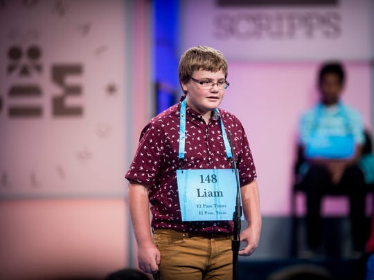 Liam Nyikos, 12, from Carlsbad, N.M., participates in the preliminary rounds of the 2017 Scripps National Spelling Bee on Wednesday, May 31, 2017 at the Gaylord National Resort and Convention Center at National Harbor in Oxon Hill, Md.