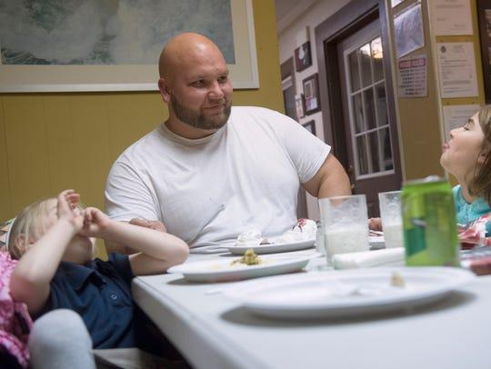 Brock Tiehel, 30, of Spring Grove, jokes around with