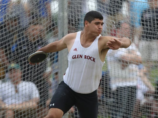 "Kyle Patel, of Glen Rock, competes in the discus.  Patel threw 176' 02"" which was good for seventh place. Saturday, June 9, 2018"