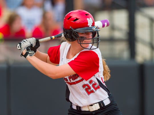 New Palestine High School sophomore Michaela Jones (22) at bat during the 34th Annual IHSAA Softball State Finals class 3A game, Saturday, June 9, 2018, at Bittinger Stadium on the campus of Purdue University, West Lafayette. New Palestine High School won over South Bend St. Joseph High School 3-1.