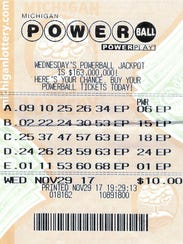 Edmond Nicaj's winning Powerball ticket.