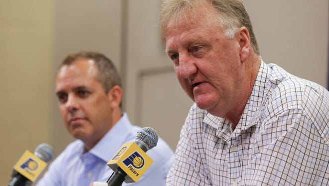 The Indiana Pacers hold a press conference with President of Basketball Operations ,Larry Byrd, right, and Head Coach, Frank Vogel, left.