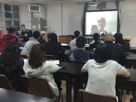 Simon Sanchez High School students have a virtual meeting