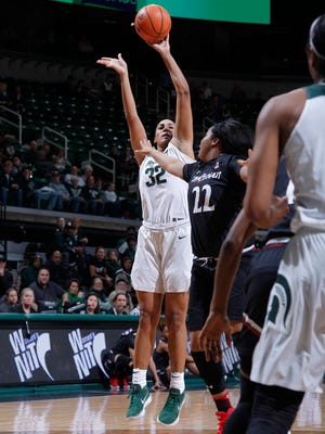 Michigan State's Taya Reimer (32) shoots against Cincinnati's IImar'I Thomas (22), Thursday, March 15, 2018, in East Lansing, Mich. MSU won 81-75.