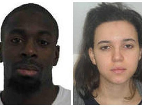 Amedy Coulibaly, left, and Hayat Boumeddiene are suspects