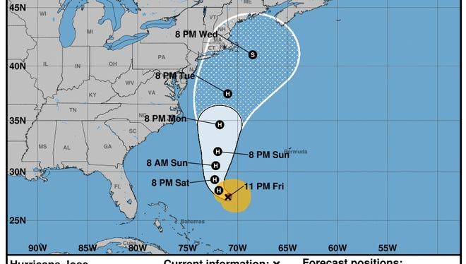 Projected path of Hurricane Jose as of 11 p.m. Friday, Sept. 15, 2017.