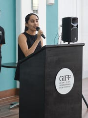 GIFF Festival Director Ruzelle Almonds welcomes attendees to the GIFF/PDN Island-wide Youth Film Competition orientation at the Guam Museum on Jan. 13, 2018.