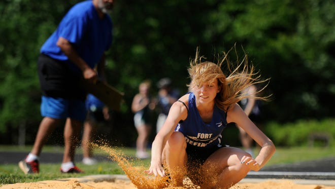 Fort Defiance's Laura Baber finishes 12th int he triple jump at the VHSL Group 3A/4A outdoor track and field championships on Friday at Harrisonburg.