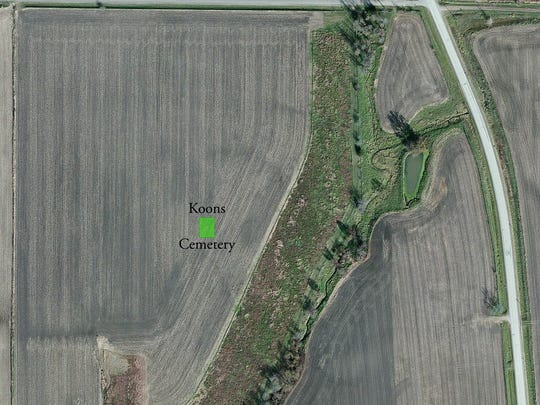 This aerial view of the farm field where the Koons family cemetery site is located. Packwood Road, right, runs adjacent to the Jefferson County property.