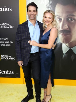 Johnathon Schaech and wife Julie Solomon in Los Angeles on April 24, 2017.