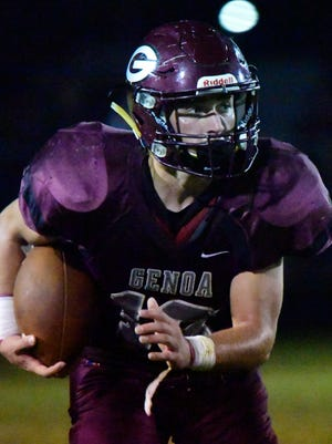 Genoa's Noah Edwards, at 5-foot-5 and 155 pounds, is a dynamic runner with 1,535 yards and 26 touchdowns this season.