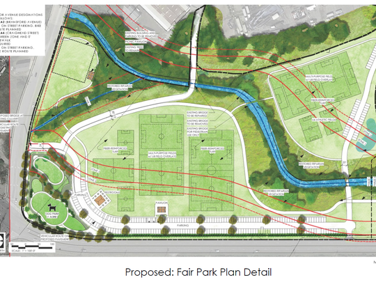 The parks plan for The Fairgrounds Nashville calls for eight multiuse soccer fields and a dog park.