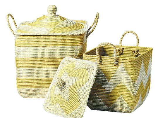 Lidded La Jolla Baskets made by hand with seagrass and recycled plastic are perfect for a clutter drop zone – with lids to hide everything ($128-$188, serenaandlily.com).