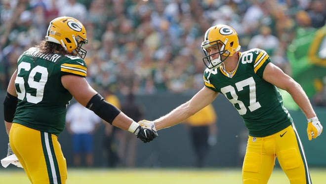 Green Bay Packers wide receiver Jordy Nelson (87) greets tackle David Bakhtiari (69) after scoring a touchdown against the Detroit Lions at Lambeau Field  September 25, 2016.