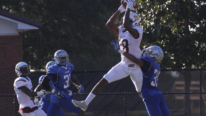 PRCC-CL Banks 1: Pearl River wide receiver Jay Banks Jr. leaps high in the air to catch a touchdown pass against Copiah-Lincoln Saturday at Poplarville.