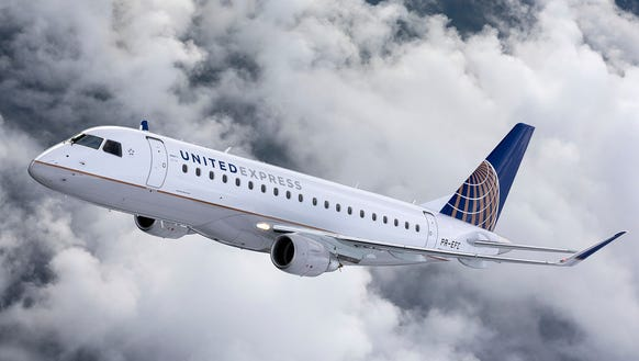 An image of a United Express Embraer E175 aircraft,