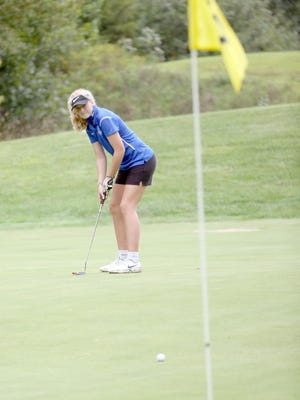 Boonville golfer Zoey Lang attempts to sink this putt on the No. 17 green Friday during the 5th Annual Lady Pirate Class at Hail Ridge Golf Course in Boonville. The Lady Pirates golf team finished third out of 14 teams.