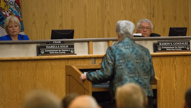 Las Cruces resident Linda Dowless, speaks to the Doña Ana County Commissioners, as they considered approving a resolution  opposing the recent ICE Raids that have been taken place in the county. The resolution was put forth by County Commissioner Ramon Gonzalez of District 2. Tuesday, February 28, 2017