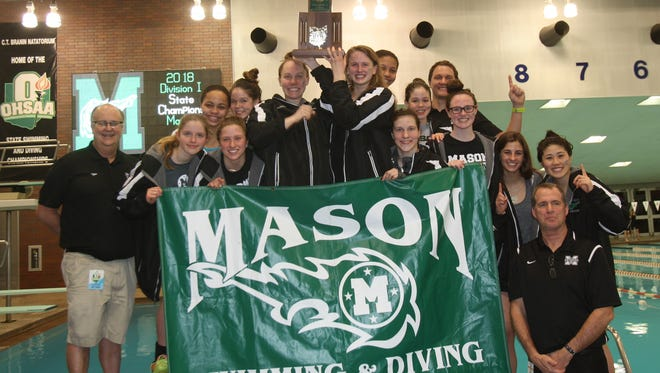 The Mason Comets' girls swimming and diving team won the Division I state team title on Saturday, Feb. 24, 2018.