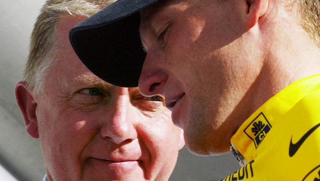 Lance Armstrong, right, and former UCI president Hein Verbruggen are alleged in the CIRC report  to have conspired to keep the cyclist from getting caught doping.