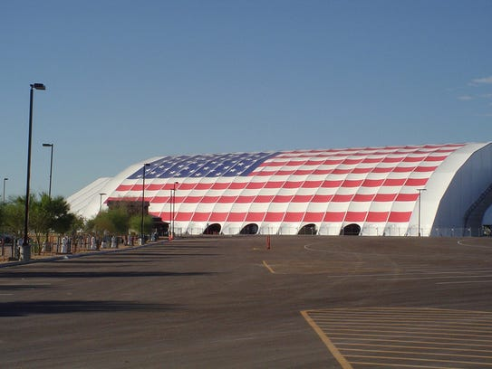 Scottsdale purchased the WestWorld tent for $1.8 million in 2005. It originally had an American flag fabric, which the city replaced in 2007.