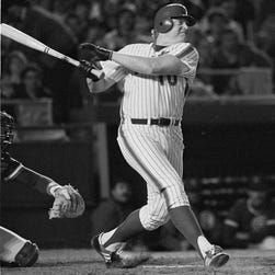 Rusty Staub, pinch hitting for the New York Mets, watches his sixth inning hit to right field against the Chicago Cubs at Shea Stadium, Tuesday, May 1, 1984. Staub had a heart attack on an overseas flight.