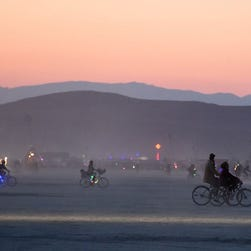 Drone's-eye-view of Burning Man festival