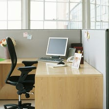 An empty work cubicle.