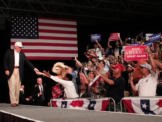 GOP Presidential Candidate Donald Trump Campaigns In Dimondale, Michigan