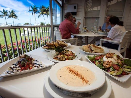 Dining at Tarpon Lodge, on Pine Island Sound, often