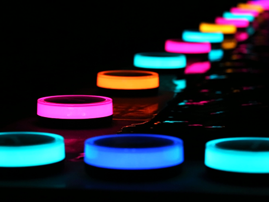Light up your yard with colorful LED lights.