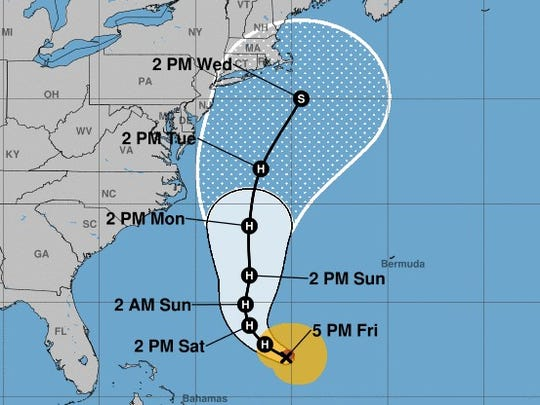 The projected path of Tropical Storm Jose, as of 5 p.m. Friday.