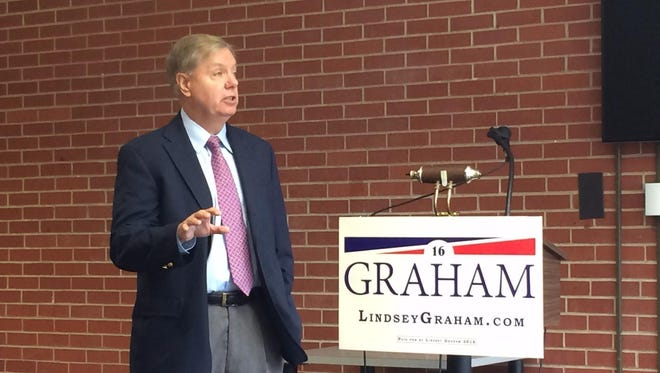 Presidential Candidate Lindsey Graham speaks to a group of 15 at Iowa Wesleyan University in Mount Pleasant.