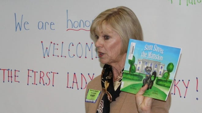 "First lady Jane Beshear read ""Sam Saves the Mansion"" to students in Helen Marie Poweleit's second-grade class at Ockerman Elementary School."