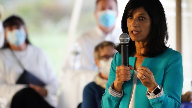 """Sara Gideon, a Democratic candidate for U.S. Senate, speaks at a """"Supper with Sara"""" campaign event, Thursday, Oct. 1, 2020, in Dayton, Maine."""