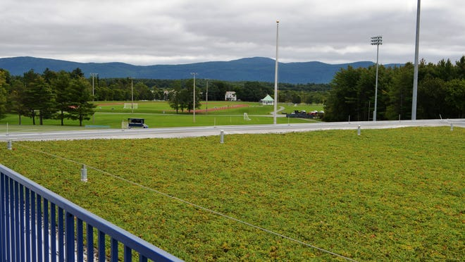View of the green roof overlooking the athletic fields at the Squash Center as seen from Kenyon Lounge at Middlebury College on Sept. 12.