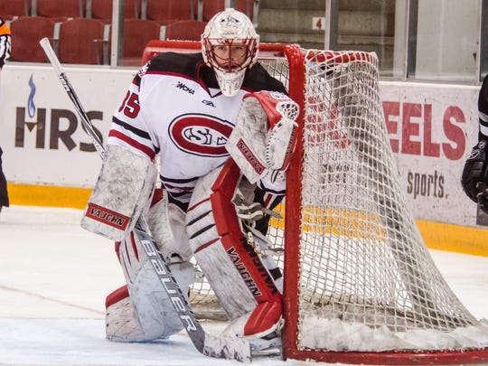 Katie Fitzgerald played goalie for St. Cloud State University for four seasons before graduating in the spring. She recently signed a contract with the New York Riveters of the NWHL.