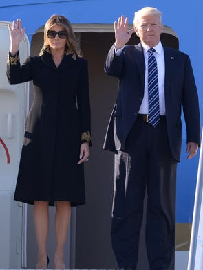 PresidentTrump and first lady Melania Trump arrive
