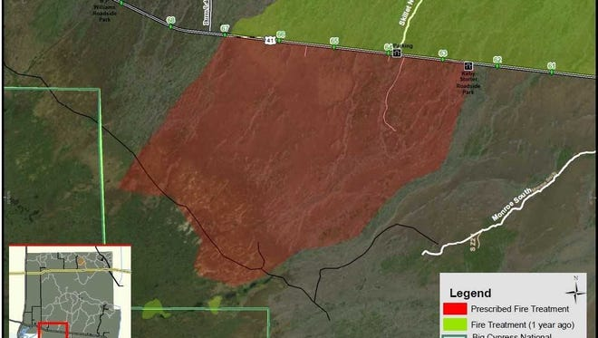 Map of a planned 11,500-acre prescribed burn in Big Cypress National Preserve.