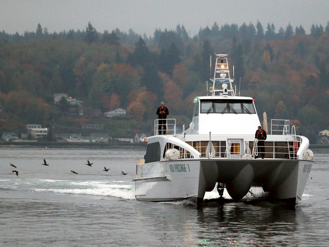 The Kitsap Transit fast ferry Rich Passage 1 arrives