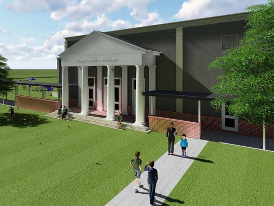An artist's rendering of an entrance to the new commons