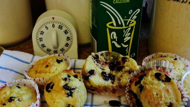 Dried fruit cornmeal muffins.