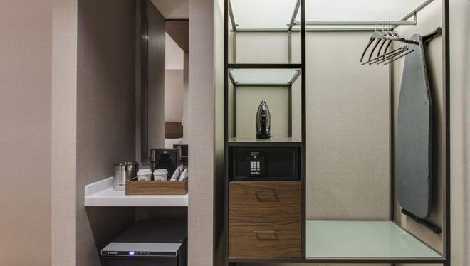 AC Hotels, a brand of Marriott International, are moving towards open closets as a way to maximize space in smaller rooms.