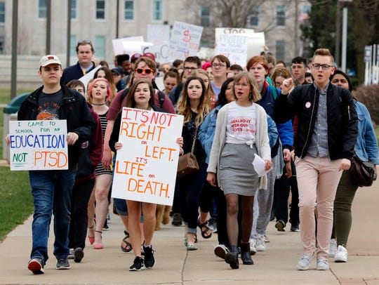 Students march at The Gun Violence Protest at the Missouri